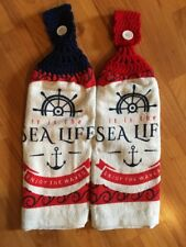 "Nautical ""Sea Life"" Double Towel Set Of 2 - Navy Blue & Red - Crochet Top"