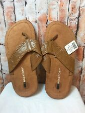 NWT Mens Rockport Flip Flop Sandals, Camel, Size 9M Leather