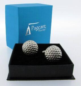 Golf Balls English Silver Pewter Cuff Links in Presentation Gift Box