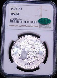 1903 P Morgan Silver Dollar NGC MS64 CAC Blast White Brilliant Luster PQ #G610
