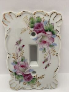 Antique Vintage Ceramic Porcelain Light Switch Plate Cover Hand Painted Flowers