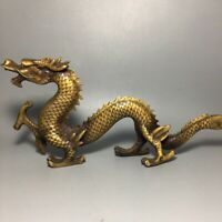 Chinese Fengshui Copper Carved auspicious Dragon honorable Loong Decor Statue