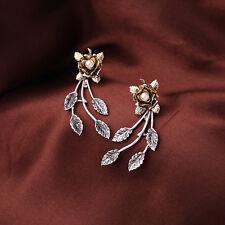 Vintage Style Bronze Pearl Floral Flower Silver Tone Leaves 2 Ways Wear Earrings