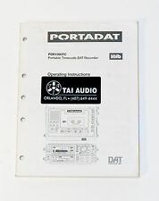 Used Portadat PDR1000TC Portable Timecode DAT Recorder Operaing Manual