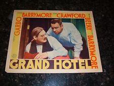 "GRAND HOTEL Original 1932 Lobby Card, 11"" x 14"", C6.5 Fine Plus Condition"