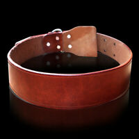 Heavy Duty Plain Real Leather Pet Dog Collars for Small Large Dogs Brown XS-2XL