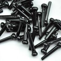 Lots of 50 pcs ABS Plastic Acoustic Guitar Bridge Pins Black w/ White Dot