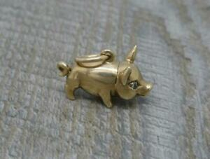 Vintage English Hallmarked 9ct Yellow Gold Solid Pig Charm or Pendant c2001,6g