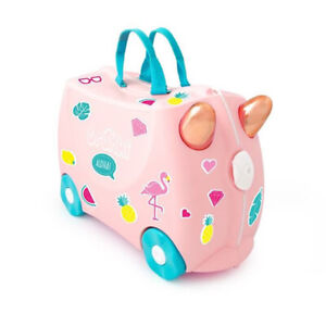 TRUNKI RIDE ON SUITCASE TOY BOX CHILDREN KIDS LUGGAGE - FLOSSI FLAMINGO