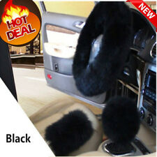 Black Soft Steering Wheel Cover Furry Woolen Fur +Gear Knob Shifter+Park Brake