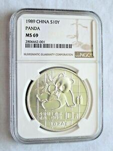 1989 China Silver Panda (1 oz) 10 Yuan - NGC MS69 - Free Shipping -