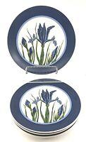 """Set 4 CURZON Cobalt Blue Iris Dessert Salad Luncheon Plates 8 1/4"""" VGC Floral"""