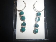 Beautiful faceted ab forest green drum bead square crystal spacer hoop earrings