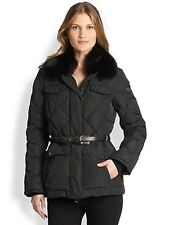 $1900 Postcard Women's Fox Fur-Trimmed Lira Goose Down Jacket Coat SZ 38