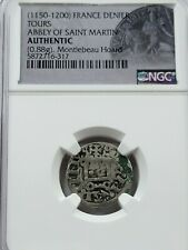 NGC Authentic Abbey of St. Martin AR French Denier. Tours. 1150-1200 AD.