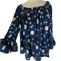 Terra & Sky 2X Boho Top Peasant Blue Bell Sleeve Blouse Plus Size Floral 20W 22W