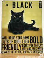 20cm metal vintage style Black Cat lover gift breed character hang sign plaque