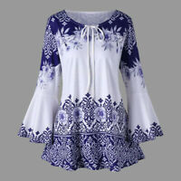 Womens Long Bell Sleeve Tops Lace Up Casual Tunic Floral Print Shirt Blouses US