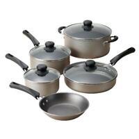 Kitchen Cookware Set 9-Piece Pots Pans Lids Cooking Aluminum Nonstick Champagne