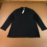 Chico's Women's Size Large Black Long Sleeve Polished V Neck Tunic Top NWT