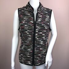 Christopher Banks Small Vest NEW Woven Zip Up Black