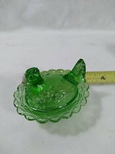 "GLASS FIGURATIVE ""HEN ON A NEST SALT / SMALL COVERED BOWL MINIATURE"