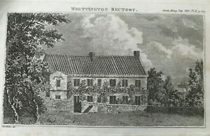 ANTIQUE PRINT WHITTINGTON RECTORY 1810 PUBLISHED IN GENTLEMAN'S MAGAZINE PL II