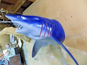 GIANT 300 LB MAKO SHARK HEAD with fins -   unpainted fiberglass reproduction