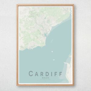 CARDIFF Map Print, Wales Wall Art Poster City Map Wall Decor A3 A2 A1