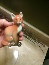 "Lomonosov Fox Figurine Sitting Lfz Made in Ussr Porcelain 4.5"" Tall Porcelain Ec"