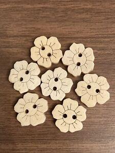 Wooden Flower Buttons 14mm x 15mm 10pcs