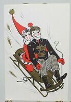 Hallmark Sledding Couple w/ Faux Gold Detail Christmas Used Card, 1961 Postmark