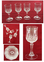 Vintage Cristal d'Arques Durand LONGCHAMP Cut Crystal 8 oz. Wine Glass Set of 4