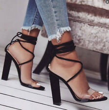 UK Womens Ankle Strap Lace Up High Block Heels Chunky Party Sandals Shoes Sizes