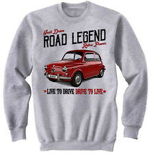 Fiat 600 Vintage - NEW COTTON GREY SWEATSHIRT ALL SIZES IN STOCK