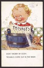 "Washday Humour ""Troubles"" Troubles come out in the wash"" '37 Kit Forres Postcard"