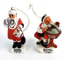 2 Norman Rockwell Santa Figurine Ornaments Dave Grossman Made in Japan 1979 1980