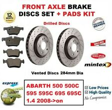 FOR ABARTH 500 500C 595 595C 695 695C 1.4 2008- FRONT BRAKE PADS + Drilled DISCS