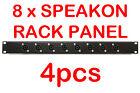 "4x 1U Black Plate Panel 19"" 8 x Speakon Road Case Server Rack Space Mount 1RU"
