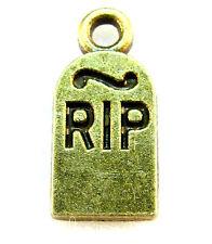 50Pcs. WHOLESALE Tibetan Antique Bronze RIP Tombstone Halloween Charms Q1262