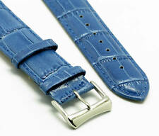 18mm Blue Quality Leather Watch Band Strap Crocodile Grain With 2 Spring Bar