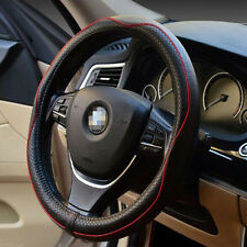 """Luxury Pure Leather Black & Red Line Steering Wheel Cover Fit Size M 15"""" 38CM"""