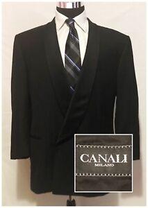 CANALI Men's Wool Tuxedo Suit Jacket Black Shawl Lapel Size 46R