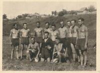 Vintage photograph, muscular shirtless young sport men, gay interest