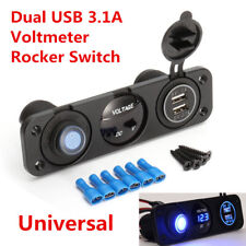 12V Voltmeter Blue LED Dual USB 3.1A Car Phone Charger Rocker Switch Waterproof