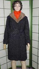 Nice vintage black Persian lamb fur coat with chic mink collar - Sz 10