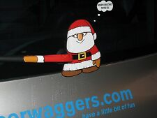 WAVING MINI SANTA CLAUS XMAS NOVELTY STICKER FOR CAR REAR WINDSCREEN WIPER
