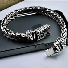 Biker Chain Clasp Bracelet 22cm Mens Sterling Silver weave Gothic