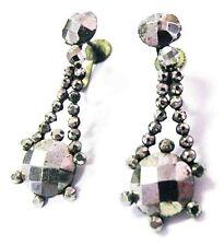 "Georgian Victorian CUT STEEL Dangle Earrings ~ 1 1/2"" EXQUISITE Antique Estate"