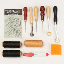 13Pcs Leather Craft Hand Stitching Sewing Tool Thread Awl Waxed Thimble Kit